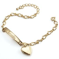 Engraved Kid's ID Charm Bracelet with Heart Locket