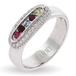 5 Stone Austrian Crystal Sparkling Mothers Ring