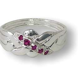 Four Band Ruby and Sterling Silver Ring Puzzle