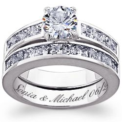 Sterling Silver Round-Cut Cubic Zirconia Engraved Wedding Set