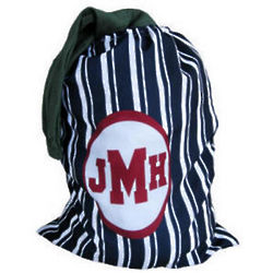 Personalized Navy Blue Stripes Laundry Bag