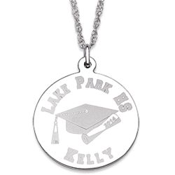 Personalized Sterling Silver Graduation Disc Necklace