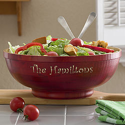 Personalized Large Bamboo Serving Bowl
