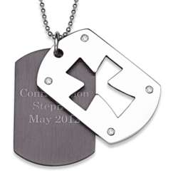 Stainless Steel Two-Tone Double Dog Tag Engraved Cross Necklace