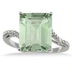 Emerald Cut Green Amethyst and Diamond Ring