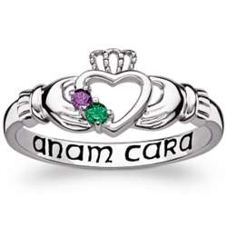 Sterling Silver Couple's Genuine Birthstone Claddagh Ring