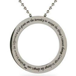 Serenity Prayer Stainless Steel Disc Pendant