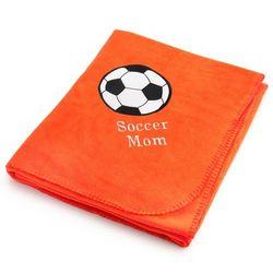 Soccer Ball Orange Fleece Blanket