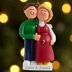 Brunette Male, Blonde Female Expecting Personalized Ornament