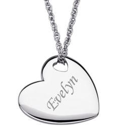 Engraved Platinum Plated Slider Heart Necklace