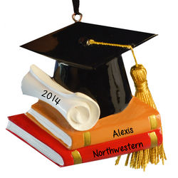 Graduation Cap Books and Real Tassel Christmas Ornament