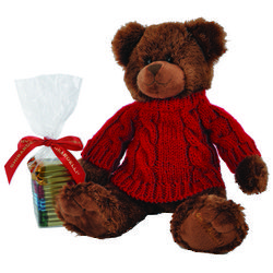Cocoa Bear in Sweater with Assorted Chocolates