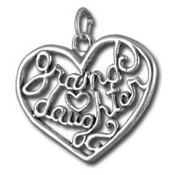 Granddaughter Sterling Silver Heart Charm