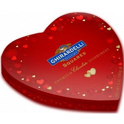 Assorted Chocolate Squares in Heart Shaped Tin