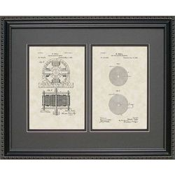 Framed 16x20 Tesla Motor and Coil Patent Art Print