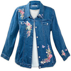 Floral Art Stone-Washed Denim Women's Jacket