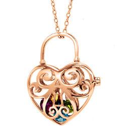 Key To My Heart Rose Gold Heart 4mm Round Birthstone Locket