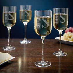 Personalized Elton Tall White Wine Glasses