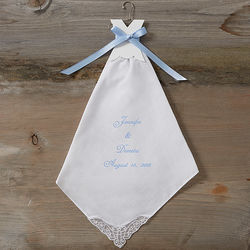 Personalized Something Blue Wedding Handkerchief