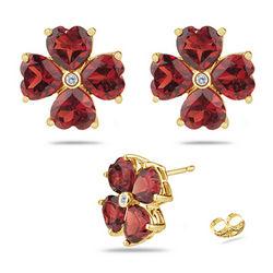 Diamond & Garnet Flower Earrings in 14K Yellow Gold