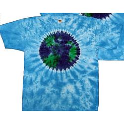 Planet Earth on Sky Blue Tie Dye Tee Shirt