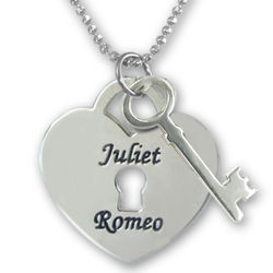 Personalized Heart Lock and Key Pendant