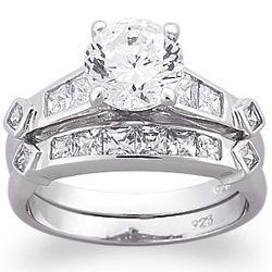 Sterling Silver Brilliant Cut Cubic Zirconia Wedding Ring Set