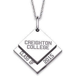 Stainless Steel Graduation Name and Year Square Tag Necklace