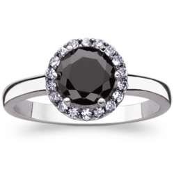 Sterling Silver Black Solitaire and White Cubic Zirconia Ring