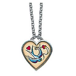 Bird and Heart Tattoo Necklace