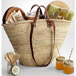 Woven Tote Picnic Basket for Four