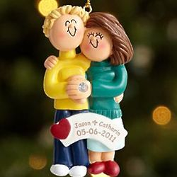 Blonde Male, Brunette Female Personalized Engaged Couple Ornament