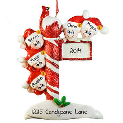 Personalized Family of Five Street Post Ornament