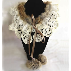 Rabbit Fur and Lace Collar Necklace
