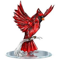 Crystalline Cardinal Figurine with Mirror Base