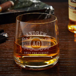 Personalized Marquee Benson Whiskey Rocks Glass