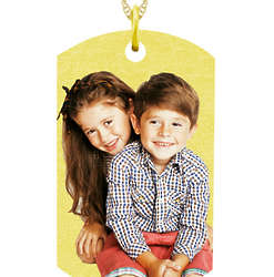 Personalized Dog Tag Custom Photo Necklace in Gold