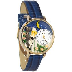 Cats Night Out Whimsical Watch in Large Gold Case