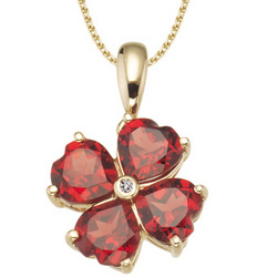 Diamond & Garnet Flower Pendant in 14K Yellow Gold
