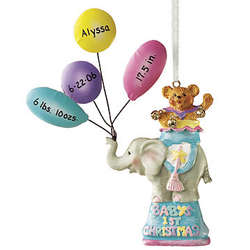 Personalized Baby's First Christmas Elephant Ornament