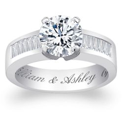 Sterling Silver Round-Cut Cubic Zirconia Engraved Engagement Ring