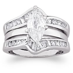4 Carat Marquise Cubic Zirconia Chevron Wedding Ring Set