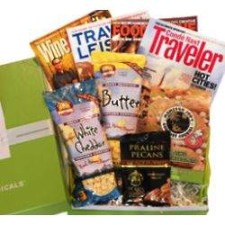 Travel and Wine Magazine and Snacks Cheeriodical Gift Box