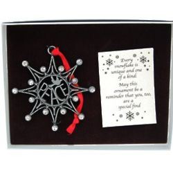 Peace with Dove Pewter Snowflake Ornament