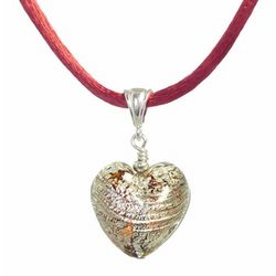 Murano Topaz and Gold Glass Heart Necklace