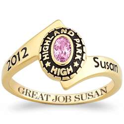 Women's 18K Gold Over Sterling Traditional Wrap Class Ring