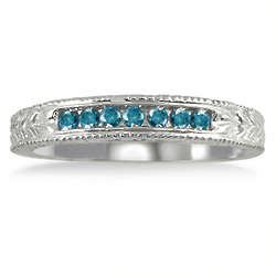 Sterling Silver Seven Stone Blue Diamond Engraved Ring