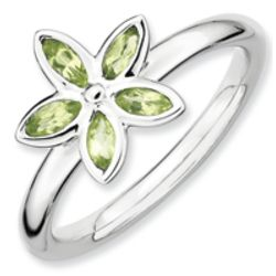 Sterling Silver Peridot Flower Ring