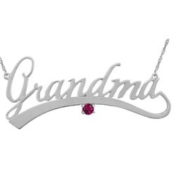 White Gold Grandma Necklace with Birthstone