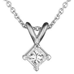 1/4 Ct Princess Diamond Solitaire Pendant in 18K White Gold